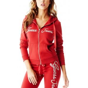 Červená mikina Guess - Allyson Zip-Up Hoodie vel. M