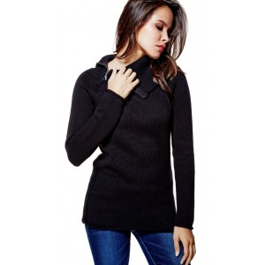 Černý svetr Guess - Damita Zip-Collar Sweater vel. XS,S,XL