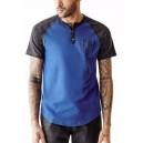 Pánské modrošedé tričko Guess - Arran Raglan Henley vel. M,L,XL,2XL
