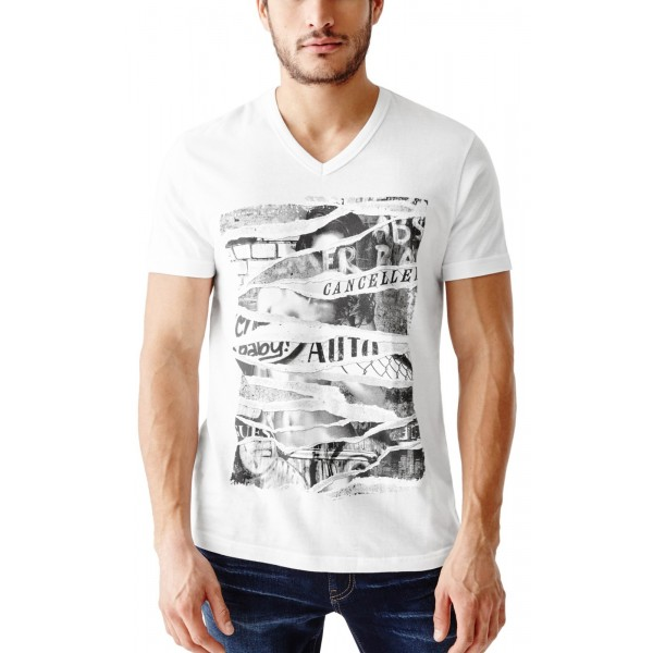 Pánské bílé tričko Guess - Mercat Graphic Tee vel.L, XL