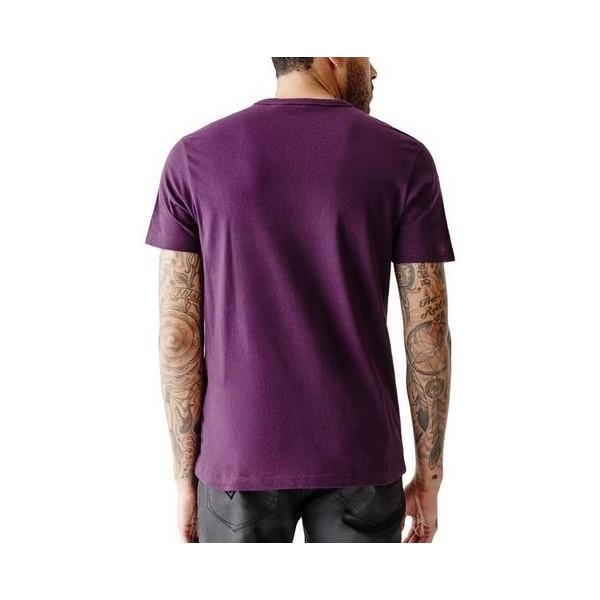 Pánské fialové tričko Guess - Bordeaux Logo Tee vel. M,L,XL