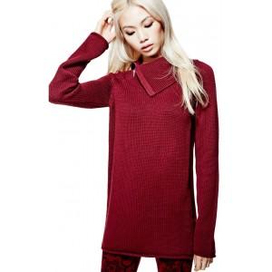 Vínový svetr Guess - Damita Zip-Collar Sweater vel. XS,M,L,XL