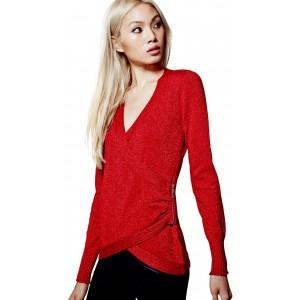 Červený svetřík Guess - Kori Shimmer vel. XS,S,M,XL