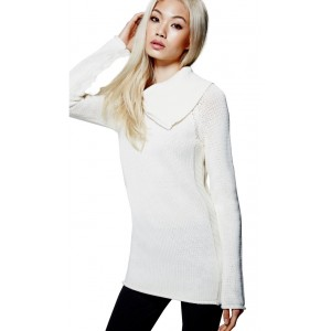 Smetanový svetr Guess - Damita Zip-Collar Sweater vel. XS,S,M,L,XL
