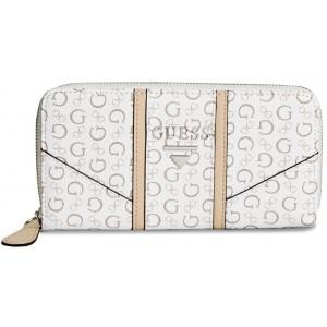 ebd9f634ea4 Bílá peněženka Guess - Nichols Logo Zip-Around Wallet - HMFashion ...