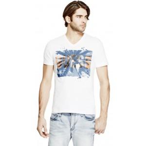 Pánské bílé tričko Guess - Chet Palms vel. XS,M,L,XL,2XL