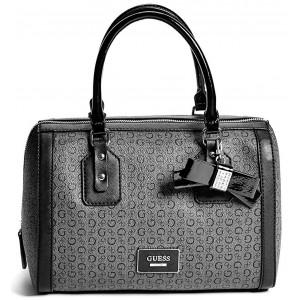 Kouřově šedá kabelka Guess - Burnley Faux-Leather Logo Box Coal