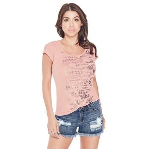 Růžové tričko Guess - Randy Logo vel. XS,M,L,XL