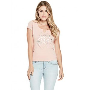 Růžové tričko Guess - Cessa Love Graphic vel. XS,S,M,L,XL