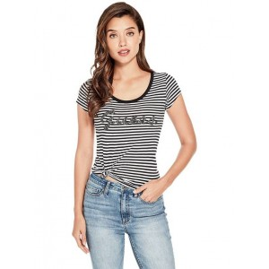 ba91d797562 Černobílé pruhované tričko Guess - Liza Threaded Logo vel. M