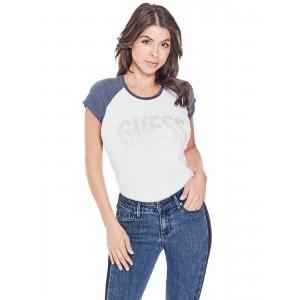 Bílé tričko Guess - Deva Raglan Logo vel. XS,S,L,XL