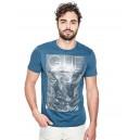 Pánské petrolejové tričko Guess -Getty Metallic vel. XL