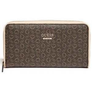 Hnědá peněženka Guess - Hopwood Zip-Around Wallet
