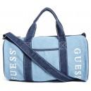 Modrá sportovní taška Guess- Denim Logo Duffle Bag