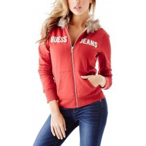 Červená mikina Guess - Fabianna Faux-Fur Hoodie vel. XS,S
