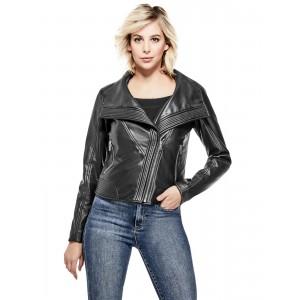 Černá bunda křivák Guess - Noto Faux-Leather Moto vel. XS,S,M,L