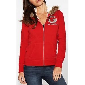 Červená mikina G by Guess s kožíškem vel. XS - HMFashion - značkové ... 513ddec361d