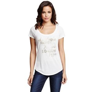 Bílé tričko G by Guess - Cicely Graphic vel. XS