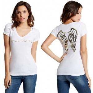Bílé tričko G by Guess - Jasleen Sequin Wing Tee vel. XS,S,L,XL