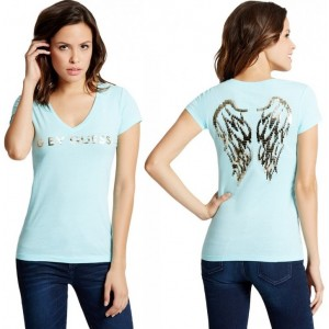 Tyrkysové tričko G by Guess - Jasleen Sequin Wing Tee vel. M