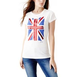 Bílé tričko Guess - Gabby Union Jack vel. XS,M,L,XL